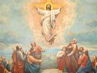 Jesus Ascension - religion, jesus, ascension. A painting of a person.