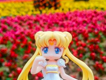 Sailor Moon among the flowers - Sailor Moon among the flowers. A statue of a flower.