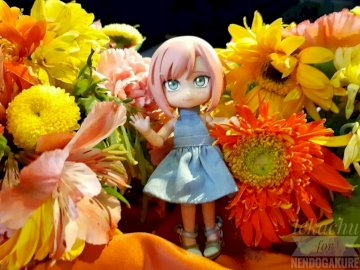 Sakura in the middle of the flowers - Sakura in the middle of beautiful flowers. A vase of colorful flowers.