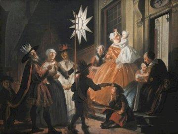 Singing Round the Star on - Ludzie w białej i brązowej sukience tańczą. Grupa ludzi pozuje do zdjęcia.