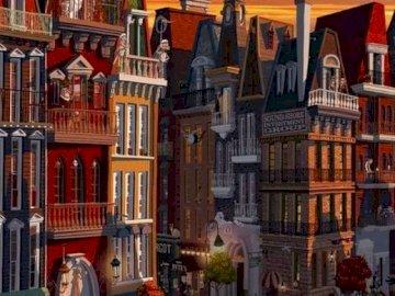 wieczór w mieście - miasto wieczorowa pora, ilustracja. Sklep w budynku.