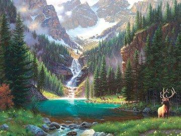 Mountain landscape. - Mountains. Clouds. Stream. Deer.