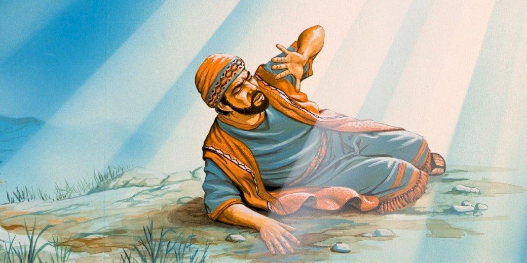 Saulus vor den Toren Damaskus - Saulus begegnet Jesus. Eine Person, die auf einem Bett sitzt (9×4)