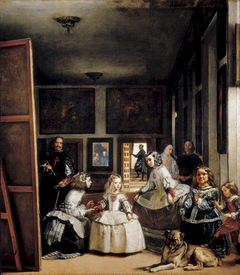 Las meninas - Куадро от Диего Веласкес. Група хора, стоящи в една стая (5×5)