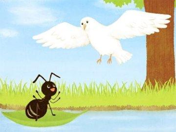 Aesops Märchen die Taube und die Ameise - Stellen Sie das Bild neu zusammen, das die Protagonisten des Märchens zeigt, das den Wert von Freun
