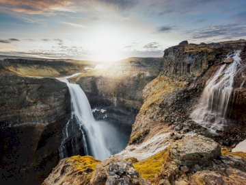 Waterfall - Waterfall, Háifoss, Iceland. A large waterfall over a rocky cliff.