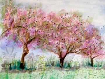 wiosna w sadzie - wiosna w sadzie, wiosenny widok, wiśnie kwitnące. Drzewo z różowymi kwiatami.
