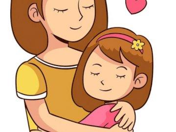 Mama z dzieckiem - Ilustracja przedstawia mamę z córeczką. Rysunek twarzy.