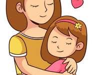 Mama mit dem Kind - Meine Mutter. Mama mit Tochter. Die Abbildung zeigt eine Mutter mit einer Tochter. Eine Zeichnung ei