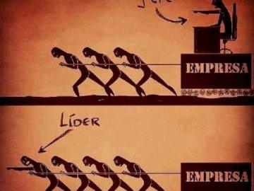 BOSS VS LEADER - Dies ist ein Puzzle mit den Eigenschaften eines Chefs und eines Anführers.
