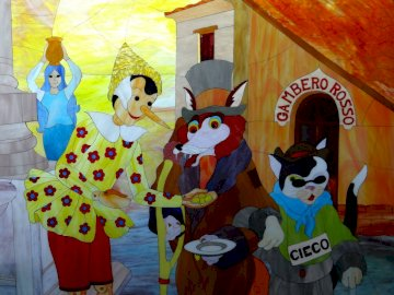 Carlo Collodi - Pinocchio - Compose free online puzzles at Puzzle Factory. A group of stuffed animals.