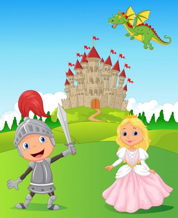 Cavaliere e principessa - Disporre i puzzle. Da quale fiaba può venire questa illustrazione?. Una stretta di un giocattolo (5×5)