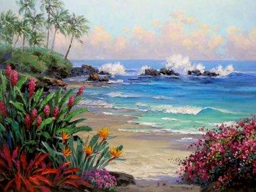 Amerykański malarz plenerowy - Amerykański malarz plenerowy - Senkarik 1954. Grupa palm na plaży.