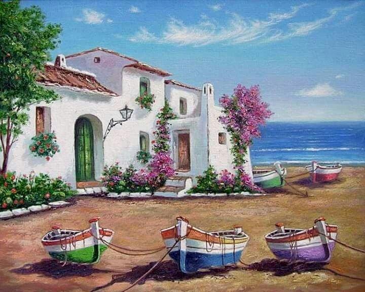 Peinture - Peinture. Paysage de bord de mer. Un gros plan d'un jardin fleuri devant un immeuble (10×10)