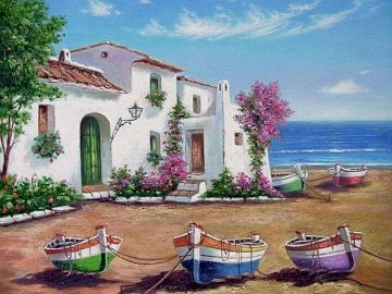 Painting. - Painting. Seaside landscape. A close up of a flower garden in front of a building.