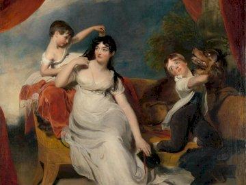 Titre: Maria Mathilda Bingham - Femme en robe blanche peinture. Un groupe de personnes debout devant un miroir posant pour la camér