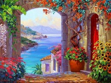 Tierra, agua y cielo - Tierra, agua y cielo para la vista. Wazon z kwiatami stoi przed budynkiem.