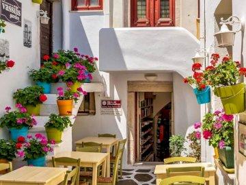 Naxos, Grèce 1 - belles vues sur l'île de Naxos en Grèce. Un salon rempli de meubles et vase de fleurs sur