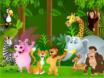 Zoo animals - giraffe, hippo, cheetah, zebra, monkey, elephant, toucan, deer, gorilla.