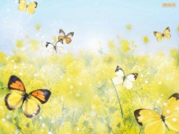 puzzle MOTYLKI - Puzzle rezentujące motylki. Zakończenie up żółty kwiat.