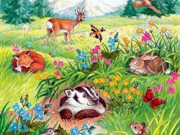 MIESZKAŃCY ŁĄKI - Krajobraz ukazujący mieszkańców łąki. Grupa kolorowych kwiatów.