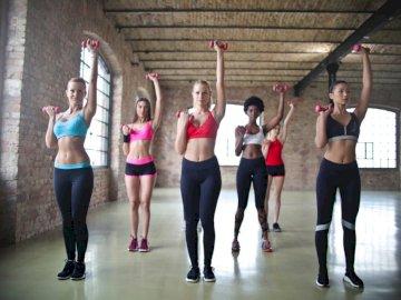 Grupa fitness - Grupa kobiet ćwiczyć używać dumbbells. Malta. Grupa ludzi pozujących do kamery.