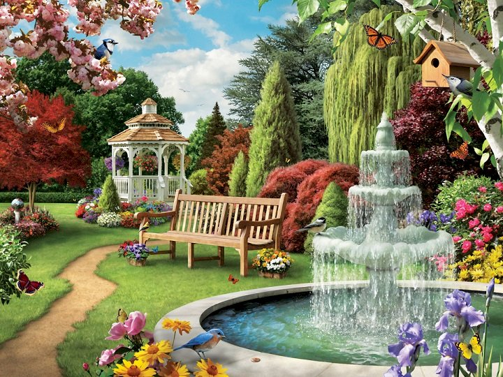 A fountain in the park - A fountain in the park. Trees. Flowers. Bench. A group of people in a garden (10×10)