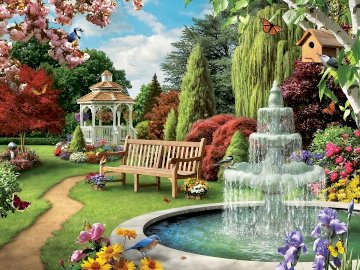 A fountain in the park. - A fountain in the park. Trees. Flowers. Bench. A group of people in a garden.