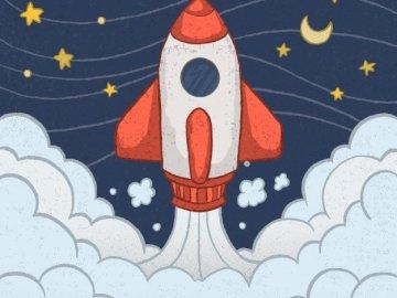 przestrzeń - prosta łamigłówka dla dzieci o kosmosie.