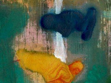 Część jednego z moich akryli - Wielobarwny malarstwo abstrakcyjne. Manchester. Rozmyty obraz obrazu.