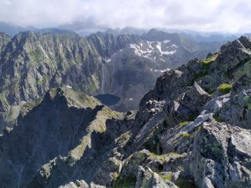 Slovak Tatras - view from Krywanie - View from Krywanie towards the Polish High Tatras. A view of a rocky mountain.