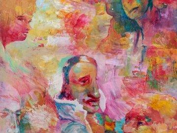 obraz SZEKSPIR - obraz olejny 20x20 cm. Obraz kolorowy tła.