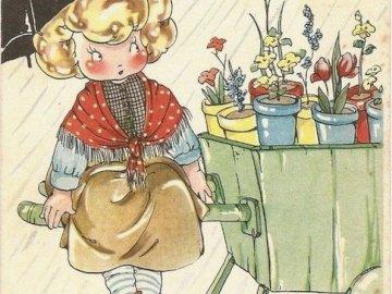květinářka na trhu - květinářka na trhu. Eine Nahaufnahme eines Buches.