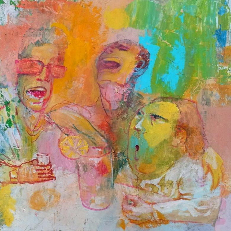 image MouthS ( - oljemålning 20x20 cm. En målning av en person (7×7)