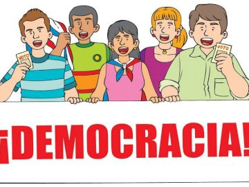 democracy - participatory democracy. A close up of a logo.