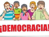 Demokratie - partizipative Demokratie. Eine Nahaufnahme eines Logos.