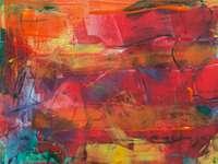 Pintura abstrata - Pintura abstrata vermelha e azul. Valparaiso Indiana EUA. Uma parede coberta de grafite.