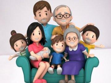 Familie mit mehreren Generationen - Einfache Rätsel, die eine traditionelle Familie mit mehreren Generationen zeigen. Eine Spielzeugpup