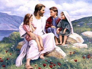 Gesù e i bambini - Puzzle raffigura Gesù con i bambini. Un gruppo di persone sedute sulla cima di una montagna.