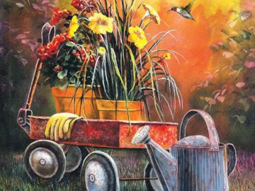 Painting. - Art. Painting. Garden decorations. A painting of a truck.