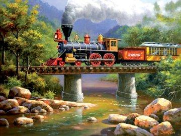 Tren de vapor. - Rompecabezas para niños. Tren de vapor. Un tren baja por la montaña.