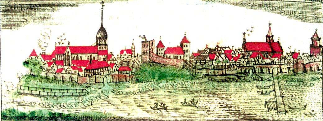 Panorama Kamienia Pomorskiego z XVII w - Panorama Kamienia Pomorskiego od strony Zalewu kamieńskiego, autorstwa kamieńskiego pisarza miejskiego Johannesa Rugego z 1687 r (13×5)
