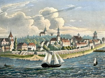Panorama of the Pomeranian Stone before 1850. - View of Kamien Pomorski from the Kamienski Lagoon. Steel engraving of J. Hausheer from before 1950.