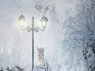 """Królowa Śniegu - Jest to scena z baśni """"Królowa Śniegu"""" H. Ch. Andersena. Puzzle przeznaczone dla dzieci"""