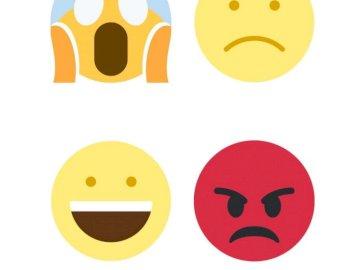 Grote emoties - Buzie presenteert 4 basisemoties. Een close up van afbeeldingen.
