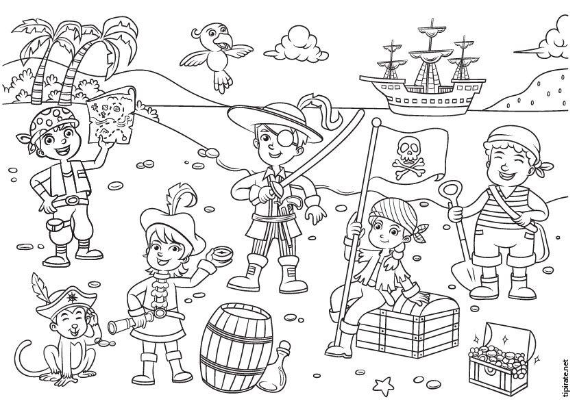 Układanka piratów - Zrekonstruuj puzzle pirackich dzieci. Zakończenie up tekst na białym tle (4×3)