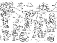 Kalózok puzzle - Rekonstruálja a kalóz gyerekek puzzleját. A közeli kép a szöveg fehér alapon.