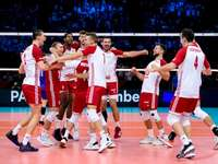 Polish national volleyball team - Polish national volleyball team. A group of men playing a game of football.