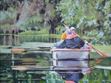 Two men in a boat - From an original painting by Bryan Moss.Two members of Swansea Canal Society in a rowing boat on the