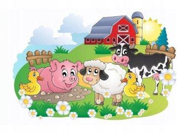 Zwierzęta na wsi - Ułóż puzzle przestawiające życie zwierząt na wsi.
